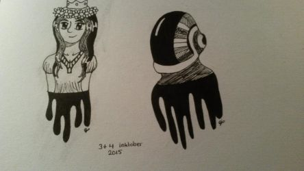 Inktober Day 3+4: Kathlynn, Guy-Manuel (Daft Punk) by Kittygoesrawrrr
