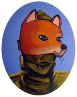C3PO in DIsguise wearing a Fox Mask by TrampLamps