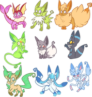 Shiny's Eeveelutions by Pupom