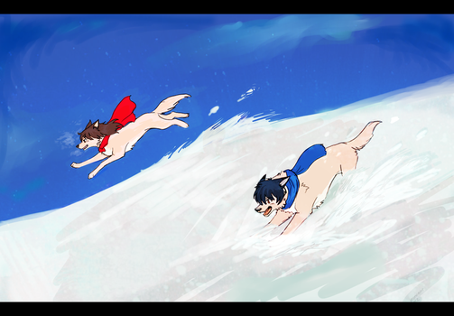 The Wolf Children Ame and Yuki by Zencelot