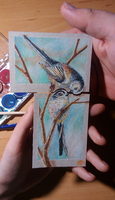 170226-16 ACEO for PurpleWish23 - Long-tailed tits by Crateris