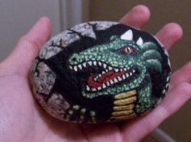hatching dragon egg painted rock by TinyAna
