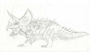 Triceratops (sketch Test) by WoodZilla200