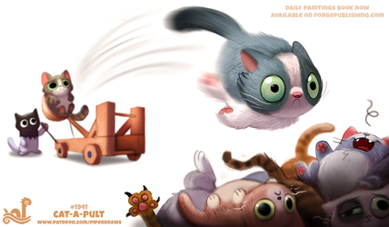 Daily Paint 1941# Cat-a-pult by Cryptid-Creations