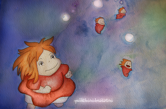 Ponyo watercolor by quidditchmom