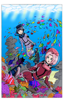 Hinata and Sakura's First Dive - Color Version by The-Sakura-Samurai
