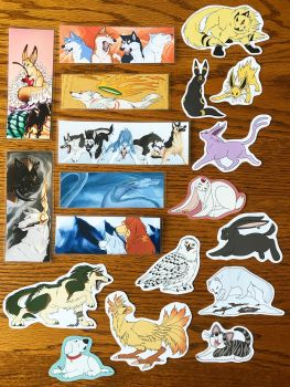 Bookmarks and Stickers for Sale! by FlannMoriath