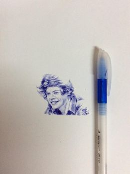 Ballpoint pen drawing of Harry Styles by chaseroflight