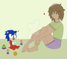 Baby Sonic and Lilly - Chilling by HedgeCatDragonix