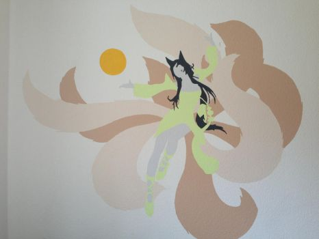 Ahri wall painting by Shark5060