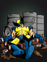 Drunk Wolverine (Commission) by JMKohrs