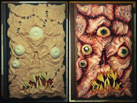 Before and After paint Necronomicon sketchbook by dogzillalives