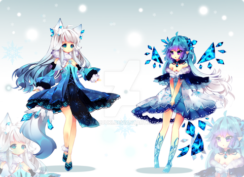 Snowy Fox and IceFairy Auction Closed by Maruuki