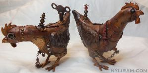 Steampunk Chickens by MarilynMorrison