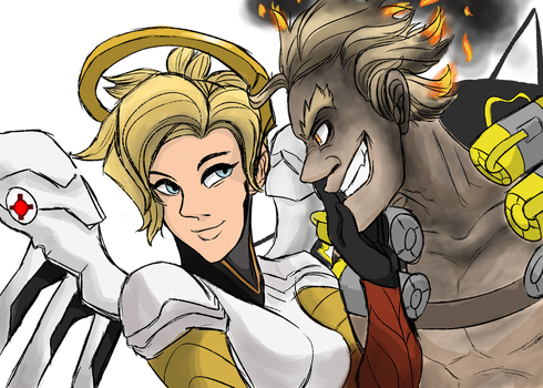 Mercy and Junkrat by Rioxnation