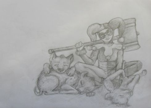 harley quinn and her fluffy pets by minihumanoid