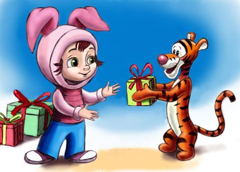 Tigger and the child in Piglet sweater by zdrer456