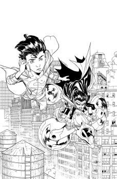 Splash page from Super Sons #14 by aethibert