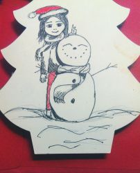 Snowman and me by redblueandgold
