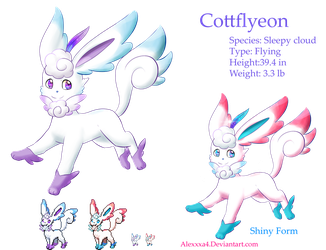 Fake Eeveelution Flying Type: Cottflyeon by Alexxxa4