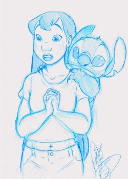 Lilo And Stitch Sketch by jackfreak1994