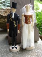 Steampunk wedding cake toppers by Hiddendemon-666