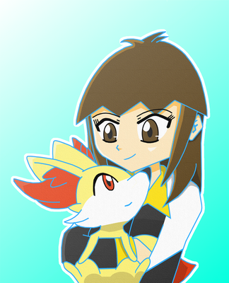 One Claire and her Fennekin by DBurch01