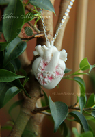Anatomical heart with sakura flowers pendant by Krinna