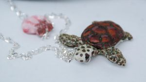 Sea Turtle Necklace, Polymer Clay by polgabice
