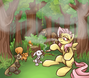 Fluttershy and her 'buds' by stoneypony