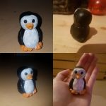 Fimo penguin from different perspectives. by MadameButterfly94
