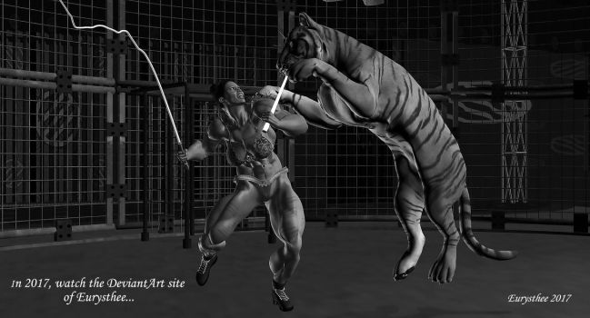 Photo- A tamer attacked by a tiger in circus by eurysthee