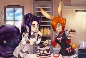 Making cakes together~ by SatraThai