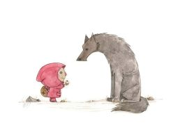lil red and wolf by morganobrienart