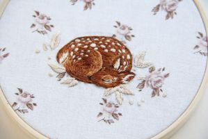 Sleeping fawn embroidery by Avaril