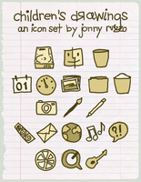 Children's Drawings Icon Set by likeOMFGitsJONNY