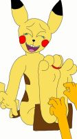 Anthro Female Pikachu Tickled by aloynna