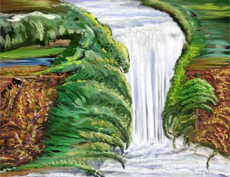 Waterfall Painting by StephenL