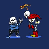 Sans and Papyrus playing charades by DarkCartoon122