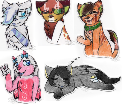 Traditional stickers commissions page 2 by CattyAngel