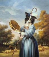 Border Collie as Shepherdess by sololupo