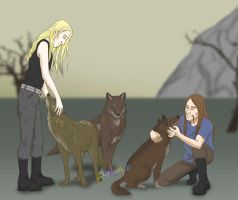 Yard wolves by Aryblack