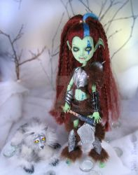 Orc Girl and wolfy custom Monster high by NickiiRose