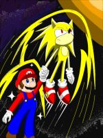 Star Mario and Super Sonic by WolfTotem1