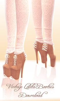 Vintage Lolita Booties - MMD Download by Shiremide1