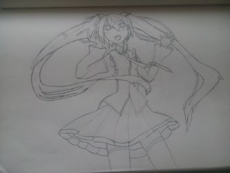 2nd draw of Hatsune Miku by Shiroku-Art
