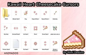 Kawaii Cute Sweet Heart Pink Cheesecake Cursores by SweetPinkGalaxy