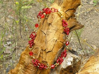 Red and Gold Chainmail Anklet by Healersmoon