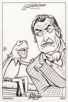 Inktober Day 2: Vincent Price and Kermit by AtlantaJones