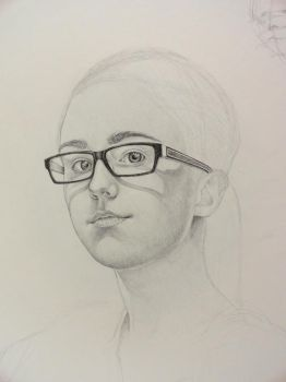 Drawing - Self portrait WIP by VerdigrisVie